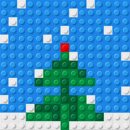 Christmas tree formed from plastic construction blocks.