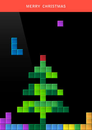 tetris: Christmas tree on game computer screen.
