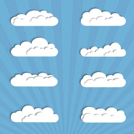 ciel avec nuages: Collection de nuages ??papier.