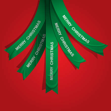 Creative Christmas tree formed from ribbons.  Vector