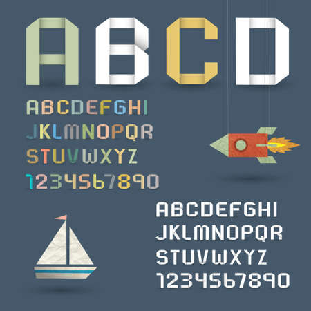 Origami Alphabet with Numbers in retro style  Vector