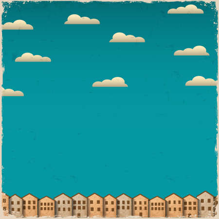 Retro paper town on grunge background  Stock Vector - 15545341