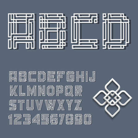 mayan:  White alphabet letters and numbers in Mayan style