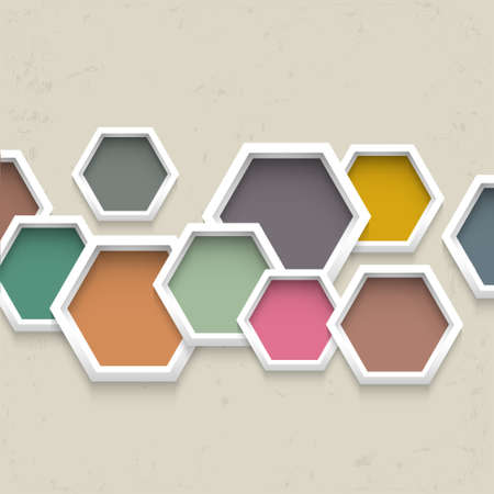 hexahedron: 3d geometric background with colorful hexagons