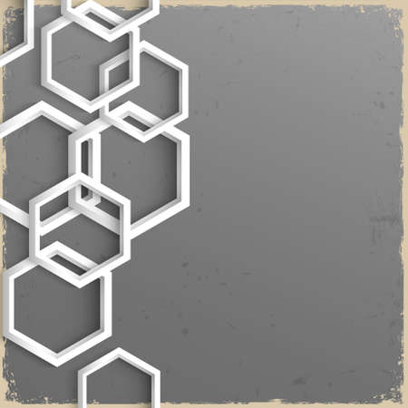 multifaceted: 3d geometric grunge background with hexagons . Vector eps10