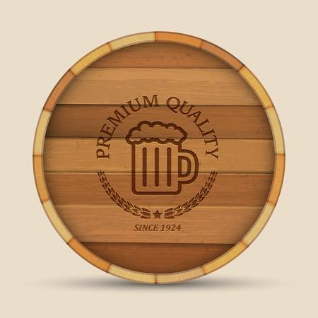 Beer label in form wooden barrel. Vector eps10 Vector