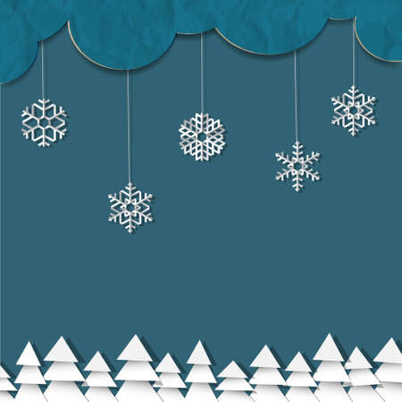 Blue background with paper snowflakes and Christmas trees Vector