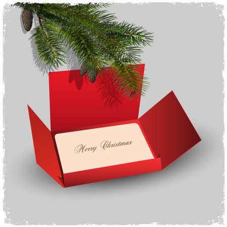 Christmas card and red envelope with branch of fir. Vector illustration Vector