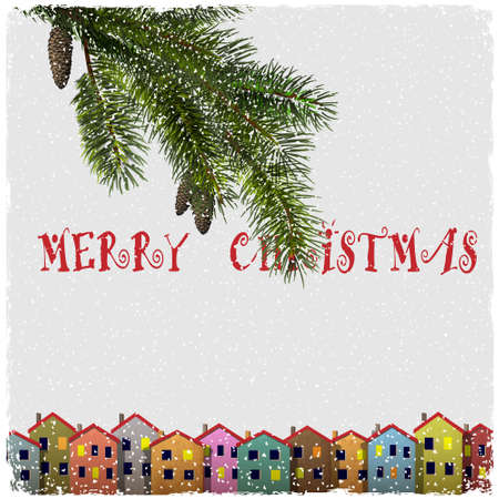 Christmas card with colorful houses and branch of fir. Vector paper-art  Vector