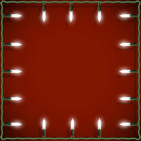 Christmas lights frame on red background. Vector decorative garland  Illustration