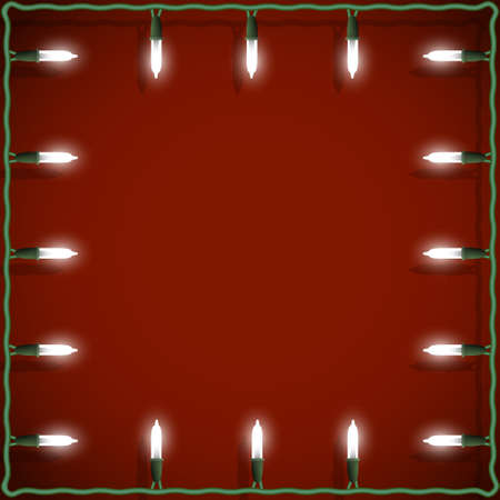 Christmas lights frame on red background. Vector decorative garland Stock Vector - 15931450