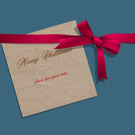 Christmas paper note with pink ribbon. Vector illustration Stock Vector - 15931364