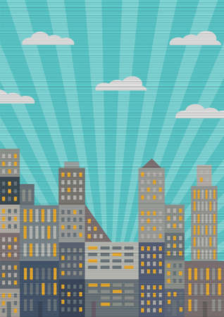 City in retro style. Vector eps10 Vector