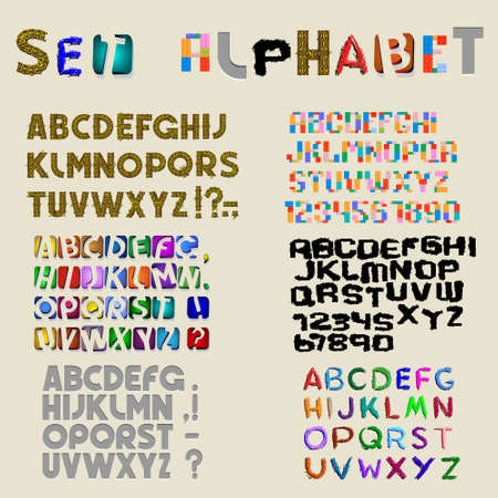 Collection of 6 sets of latin alphabet. Vector eps10