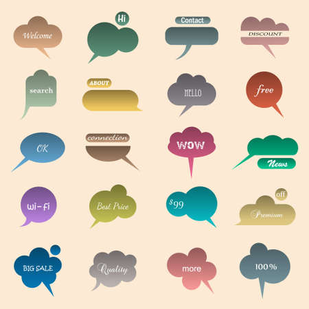 Collection of various bubbles for speech. Vector illustration Vector
