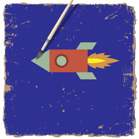 Drawing paint of cartoon rocket. Vector illustration Stock Vector - 15931395
