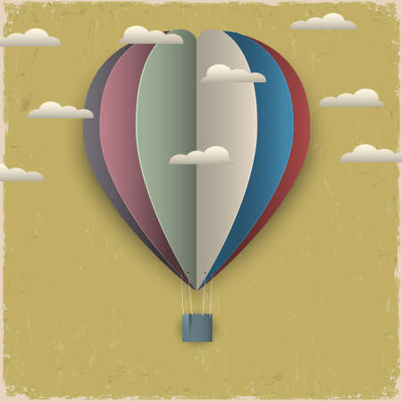 Retro hot air balloon and clouds from paper. Creative vector eps 10
