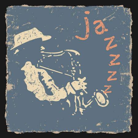 reggae: Illustration vectorielle r�tro avec le saxophoniste