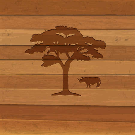 Silhouette of rhino and tree on wooden background Stock Vector - 15931398