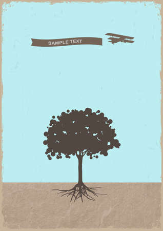 Silhouette of tree and old plane on grunge paper Vector eps10 Vector