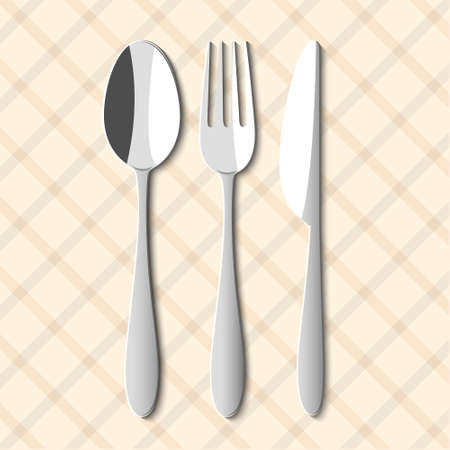 spoon: Spoon,fork and knife  Vector illustration