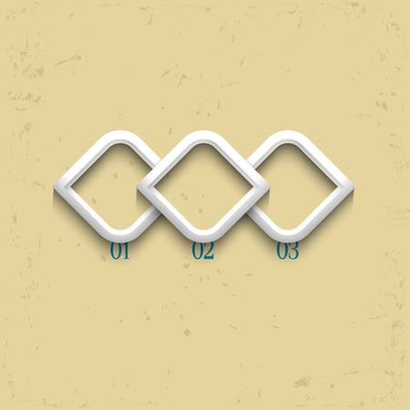 Three geometric numbered banners  Vector design template Vector