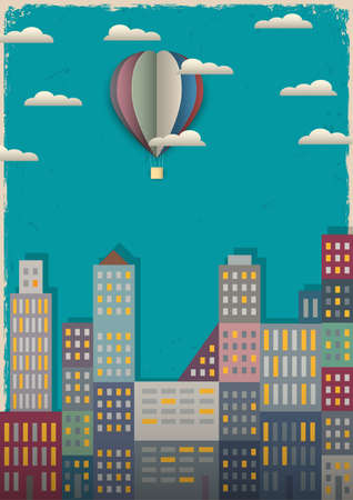 townscape: Town and air balloon Vector illustration in retro style