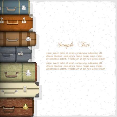 reiziger: Vector achtergrond met koffers Stock Illustratie