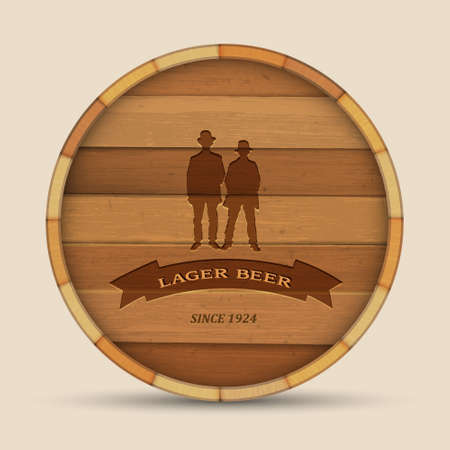 cask: Vector beer label in form wooden barrel with two men