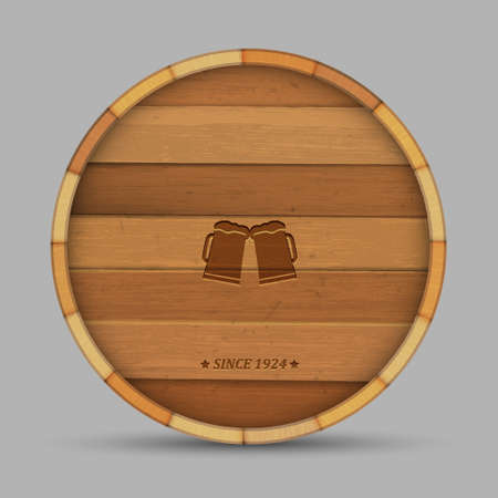 Vector beer label in form wooden barrel Vector