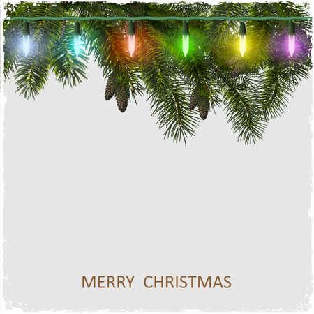 holiday home: Vector tarjeta de Navidad con el �rbol de abeto rama y guirnalda Vectores
