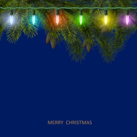 Christmas card with fir tree branch and colorful garland  illustration Vector