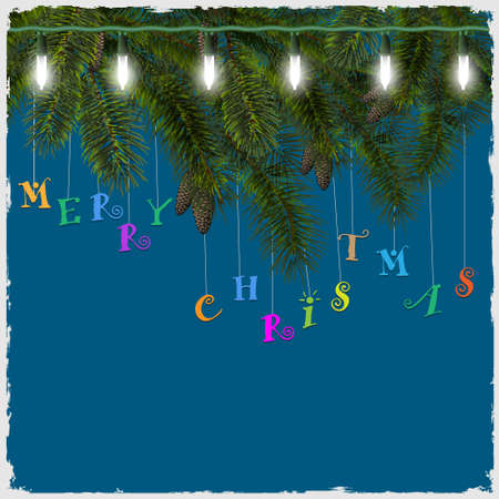 Christmas card with fir tree branch and garland Stock Vector - 16042435