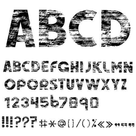 Grunge alphabet letters, numbers and punctuation marks   Vector