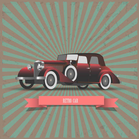 old style retro: Retro car with ribbon-banner  ]illustration