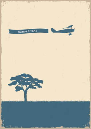 Silhouette of tree and old plane on grunge paper Stock Vector - 16042388