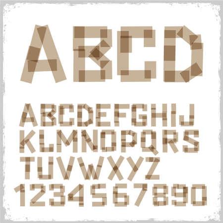 Alfabet letters en cijfers gemaakt van plakband. Vector eps10