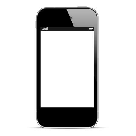 Black smartphone isolated on white background. Vector eps10 Illustration
