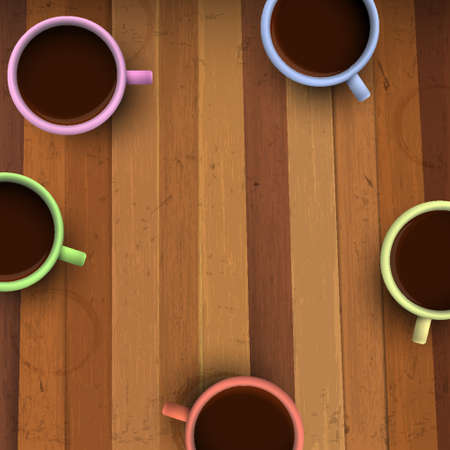 cup of coffee: Colorful cups of coffee on wooden table. Vector illustration Illustration