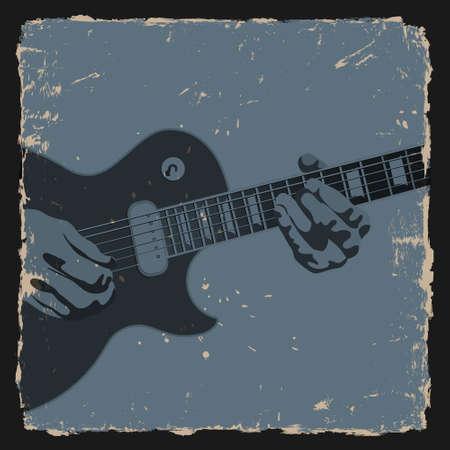 acoustical: Guitar player on grunge background. Vector illustration Illustration