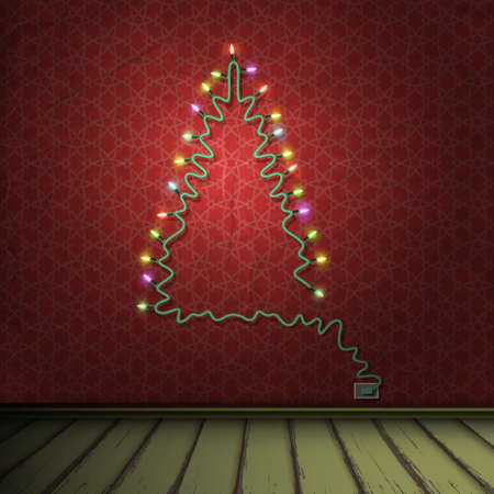 christmas room: Interior of vintage room with Christmas tree formed garland lights. Vector eps10