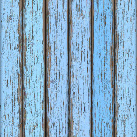 weathered wood: Light-blue old wooden fence. Vector background
