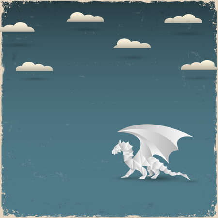Origami Dragon on grunge background  Vector paper-art Vector
