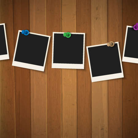 Photo frames with colored pushpins on wooden background  Vector illustration Vector