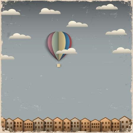 globo: Retro globo de aire caliente y de la ciudad desde el papel creativo eps vector 10