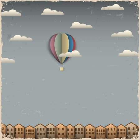 hot air: Retro hot air balloon and town from paper  Creative vector eps 10