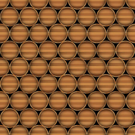 Vector seamless background of wooden barrels Vector