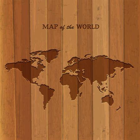 Wooden World map  Vector illustration Illustration