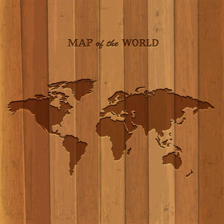 geography background:  Wooden World map  Vector illustration Illustration