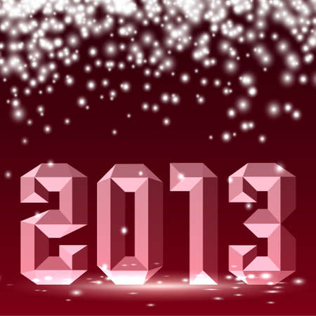 New 2013 year 3D figures with lights. Vector illustration Vector